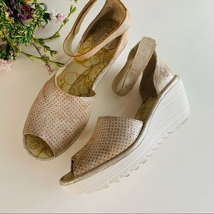 Fly London Perforated Leather Wedge Sandals